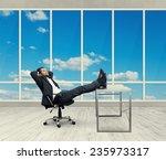 young businessman put his feet... | Shutterstock . vector #235973317