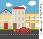 flat city street with red... | Shutterstock .eps vector #235978279