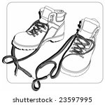 Vector black-white, line-art illustration of a pair of shoes/boots for working or hiking. - stock vector
