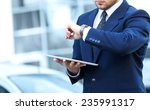 proud businessman look at clock ... | Shutterstock . vector #235991317