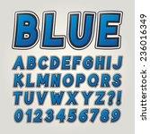 blue comic sticker alphabet and ... | Shutterstock .eps vector #236016349
