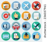 flat icons with long shadow ... | Shutterstock .eps vector #236037961