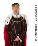 isolated medieval king standing ... | Shutterstock . vector #236052655
