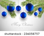 blue christmas balls with green ... | Shutterstock .eps vector #236058757