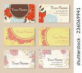 set of floral business cards. | Shutterstock .eps vector #236069941