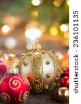 christmas golden and red balls... | Shutterstock . vector #236101135