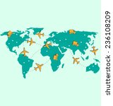 world map with air planes and...   Shutterstock .eps vector #236108209