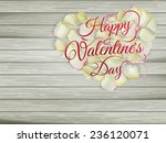 heart from flowers on wooden... | Shutterstock .eps vector #236120071