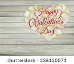 heart from flowers on wooden... | Shutterstock .eps vector #236120071