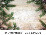 christmas tree on wooden... | Shutterstock . vector #236134201
