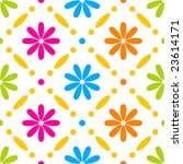 Stitches seamless floral pattern on white background - stock vector