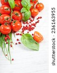 tomatoes  chives  peppers ... | Shutterstock . vector #236163955