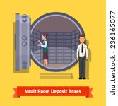 Bank vault room with a safe deposit boxes, clerk and guard. Flat style illustration. EPS 10 vector. - stock vector