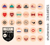 hipster trend icons set