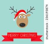 cute cartoon deer with horns... | Shutterstock . vector #236193874