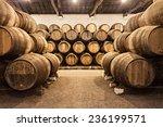 barrels in the wine cellar ...   Shutterstock . vector #236199571