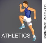 sportsman runs and jumps. track ... | Shutterstock .eps vector #236212144