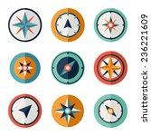 wind rose compass flat vector... | Shutterstock .eps vector #236221609