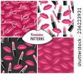 lips kisses vector seamless... | Shutterstock .eps vector #236223931