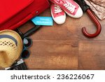 suitcase and tourist stuff with ... | Shutterstock . vector #236226067