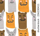bear  hare and fox with a... | Shutterstock .eps vector #236230411