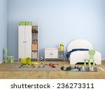 kids room bed room interior 3d...   Shutterstock . vector #236273311