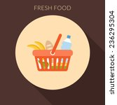 fresh food concept. basket with ... | Shutterstock .eps vector #236295304