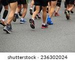 unidentified marathon athletes...   Shutterstock . vector #236302024