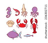 hand drawn marine life set.... | Shutterstock .eps vector #236302711