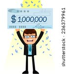 man holding a huge check of one ... | Shutterstock .eps vector #236379961