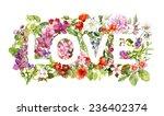 floral word love  flowers ... | Shutterstock . vector #236402374