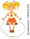 joyful little girl jumping... | Shutterstock .eps vector #236411191