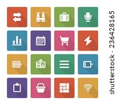 flat icons vector set and long...