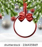 paper bauble. winter background ...   Shutterstock .eps vector #236435869