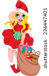 christmas lady with gift bag | Shutterstock .eps vector #236447401