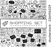 shopping doodle set. hand drawn ... | Shutterstock .eps vector #236456329