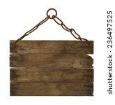 wooden sign hanging on chain... | Shutterstock . vector #236497525