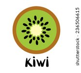 Kiwi Fruit Slice Closeup Icon...