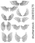 set of outline heraldic wings... | Shutterstock .eps vector #236553175