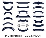 Large set of blank classic vintage ribbon banners for design elements, vector illustration | Shutterstock vector #236554009