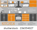 Stock vector flat kitchen interior design of a fitted kitchen with cabinets appliances and kitchenware on open 236554027