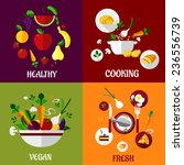 colored fresh healthy food flat ... | Shutterstock .eps vector #236556739