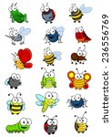 Cartooned Insects Set With Bee...