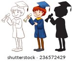 a drawing of a boy graduating... | Shutterstock .eps vector #236572429