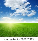 green field  blue sky and sun  | Shutterstock . vector #236589127
