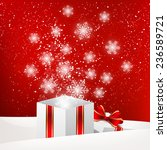 christmas gift box with shiny... | Shutterstock .eps vector #236589721