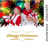 happy festive couple with gifts ... | Shutterstock . vector #236613655