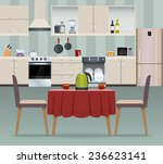 kitchen interior modern home... | Shutterstock . vector #236623141