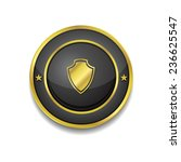 shield sign gold vector icon...