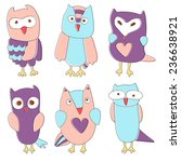 cute isolated cartoon owls in... | Shutterstock .eps vector #236638921